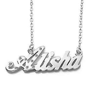 KL Alisha Custom Name 18 karaatti valkoinen kullattu kaulakoru Säädettävä ketju 16 19 cm Lahjalaatikko Viite. 4963303142272
