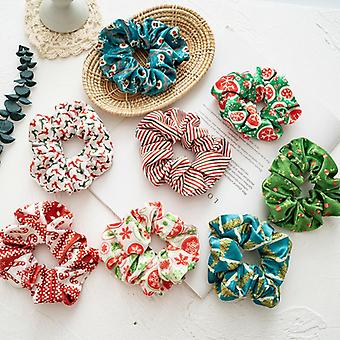 Christmas pattern hair ring flannel ponytail hair sausage ring suitable for girls or ladies