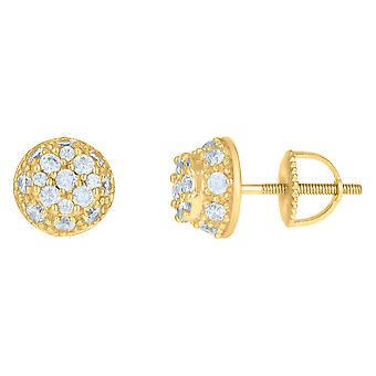 925 Sterling Silver Yellow tone Mens Cubic zirconia Fashion Stud Earrings Jewelry Gifts for Men