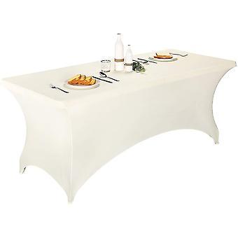 أبيض 8ft 2 pcs spandex المجهزة تمتد مفرش المائدة مستطيلة التدريب تمتد غطاء الجدول لمأدبة cai1440