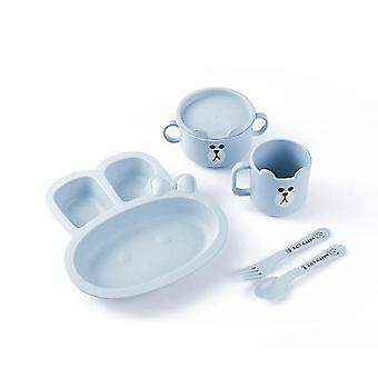 Blue rabbit children's tableware five-piece set of creative cartoon wheat straw environmental protection x3539