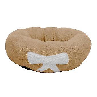 50X50cm barna kisállat kutya macska nyugtató ágy meleg puha plüss kerek barna macskák kis kutyák (l) dt3023