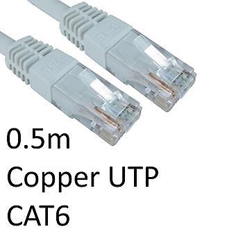 Cavo di rete UTP in rame stampato OEM bianco da RJ45 (M) a RJ45 (M) da 0,5 m