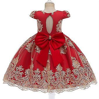90Cm tiefrot Kinder formale Kleidung elegante Partei Pailletten Tutu Taufe Kleid Hochzeit Geburtstagskleider für Mädchen fa1749