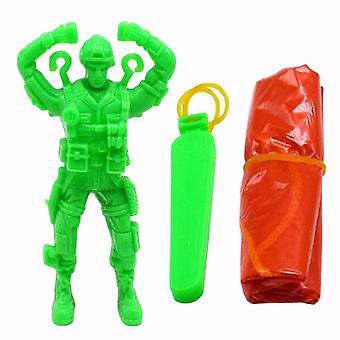 Brinquedo de paraquedas de ejetar plástico, arremesso de mão de soldado ao ar livre