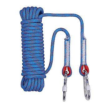 Corde d'escalade extérieure polyvalente bleue de 10m 8mm d'épaisseur avec 2 boucles de couture 2 figure 8 crochets homi4853