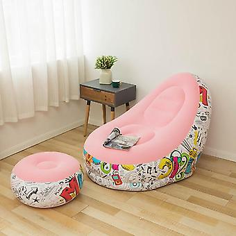 Inflatable sofa outdoor inflatable recliner lazy sofa with footstool graffiti inflatable sofa camping  portable folding chair
