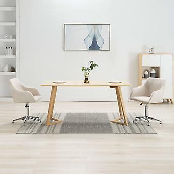 vidaXL تناول الطعام الكراسي قطب 2 PCS. كريم النسيج الأبيض