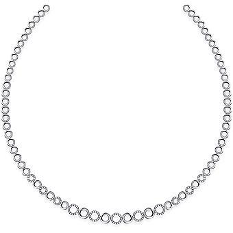 Gisser Jewels - Collar - Gargantilla Redonda Fantasy Link conjunto con Zirconia - 8mm De ancho - Longitud 42cm - Gerhodineerd Zilver 925