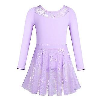Girls Ballet Dance Gymnastics Lace Skirt Long Sleeve 2Pc 1Set 150cm Purple(Purple)