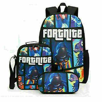 Fortnite Backpack Lunch Bag Papeterie Bagthree-piece Student Gift