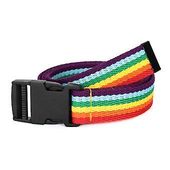 Syv farver regnbue lærred vævet bælte, polyester stribede stribede bånd
