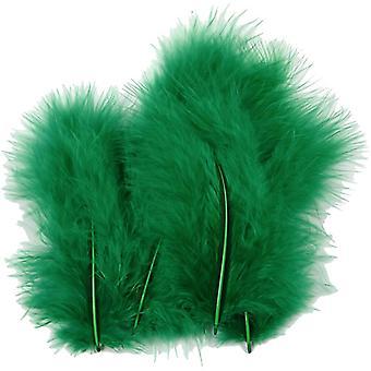 15 Groene 12cm Pluizige veren voor ambachten