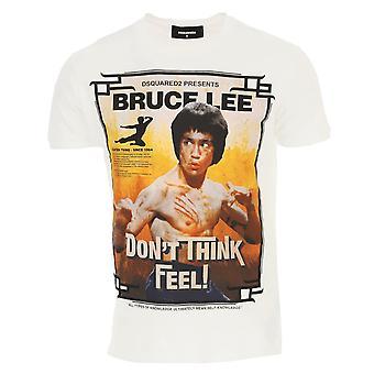 Dsquared2 Bruce Lee dont tror føle logo hvit t-skjorte