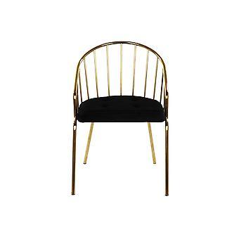 Chair DKD Home Decor Black Polyester Steel Golden (52 x 60 x 80 cm)