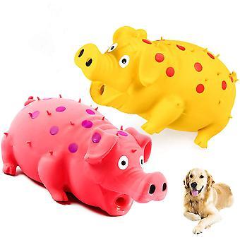 Pískající prasečí psí hračky Chrochtající prasečí hračka, která oinks grunts pro malé střední velké psy 2 balení