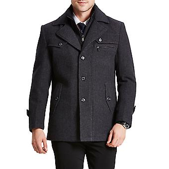 Mile Mens Coats Regular Fit Wool Trench Coat Thick Winter Peacoats Mid-length Military Jackets