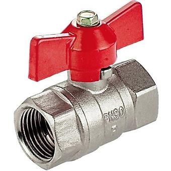 """1"""" Inch BSP Female x Female Water Valve Red Butterfly Handle Nickel Plated Brass"""