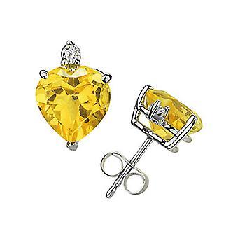 6mm Herz Citrin und Diamant-Ohrstecker 14K White Gold