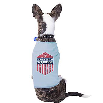 المحارب الأمريكي السماء الزرقاء 4th من تموز/يوليه الحيوانات الأليفة الصغيرة المحملة القميص القطن