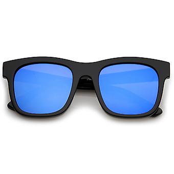 Retro Wide Temple Square Colored Mirror Flat Lens Horn Rimmed Sunglasses 57mm