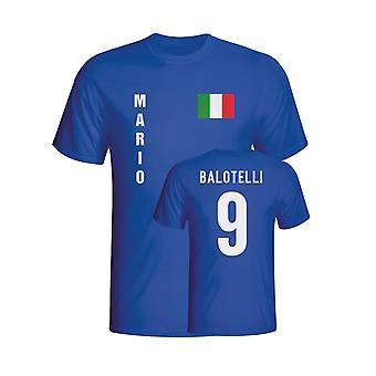 マリオ ・ バロテッリ イタリア国旗 t シャツ (青) - 子供