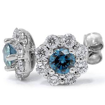 1 1/2 قيراط هالة النار أزرق آند أبيض الماس ترصيع الذهب الأبيض ك 14