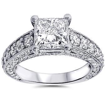 3 3/4ct Princess Cut Diamond Engagement Ring 14K White Gold
