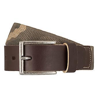LLOYD mäns bälten av elastisk textil rem bälte med beige full läder ställa 7197