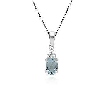 Gemondo Sterling Silver Blue Topaz November Pendant with 45cm Chain Bracelet