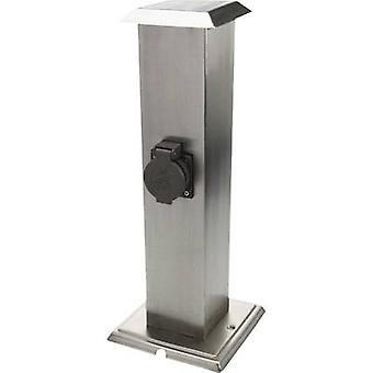 Heitronic 35107 Weatherproof socket strip 2x Stainless steel, Black