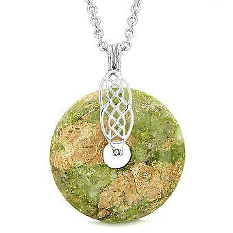 Keltischer Schild Knoten Schutz magische Kräfte Amulett Unakite Glück Donut Anhänger 18-Zoll-Halskette