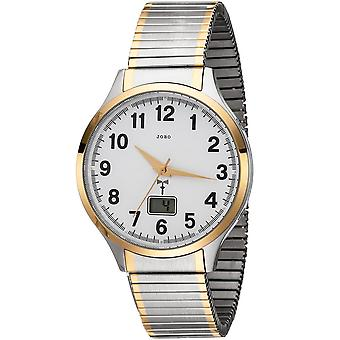 JOBO men's wristwatch radio radio clock bicolor stainless steel cable gold plated date