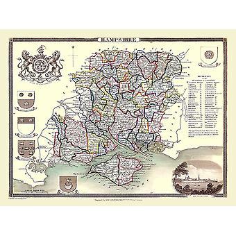 Karta Hampshire 1836 av Thomas Moule 1000 bit pussel (jhg)