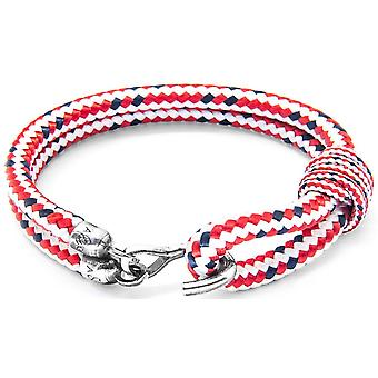 Anchor and Crew Great Yarmouth Silver and Rope Bracelet - Red Dash