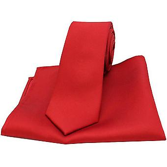 Дэвид ван Хаген соответствия Атлас тонкий галстук и карманные квадратных Set - красный