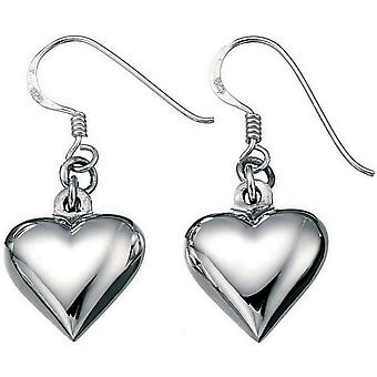Beginnings Small Puffed Heart Drop Earrings - Silver