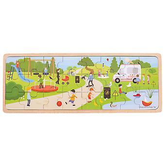 Bigjigs brinquedos de madeira no parque bandeja Chunky Jigsaw Puzzle