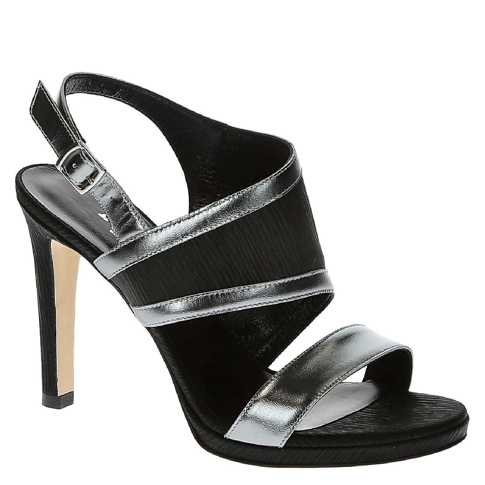 Handmade evening shoes in black satin and metallic leather Of5AB