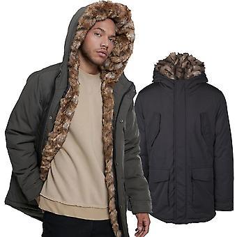 Urban classics - hooded faux fur winter jacket