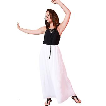Lovemystyle White Pleated Maxi Skirt With Chiffon Overlay