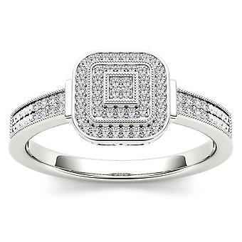 Igi certifierad 10k vitt guld 0,25 ct diamant halo engagemang vigselring