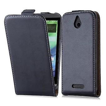 Cadorabo étui pour HTC désir 510 caviar noir - cas dans le flip design art lisse en cuir - housse Etui pochette sachet sac livre Klapp style