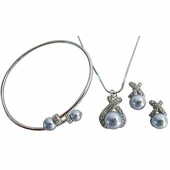 Blue Pearls Jewelry Diamante Jewelry Set with Cuff Bracelet