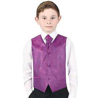 Dobell Boys Purple Paisley Waistcoat Regular Fit Wedding