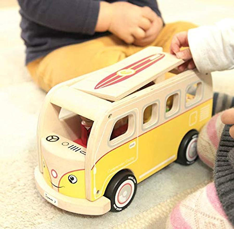 Indigo Jamm Casey Camper Van, Retro Classic Wooden Toy Vehicle with Removable Roof and Passengers