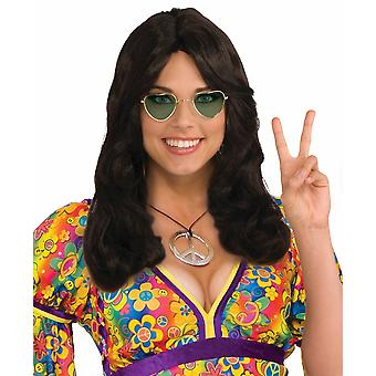 Hippie Flower Child 1970s Hippy Brown Wavy Women Costume Wig