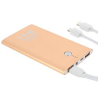 6000mAh Power bank 2 USB ports Quick charge 2.0 LinQ- Gold