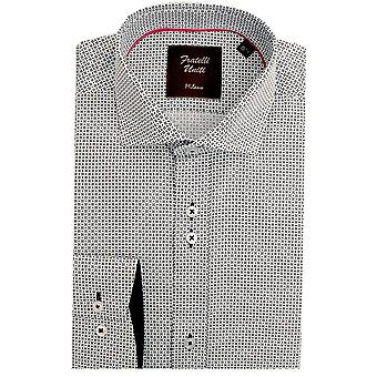 Fratelli Uniti Small Flower Pattern Pure Cotton Long Sleeve Mens Shirt