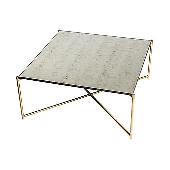 Gillmore Antiqued Glass Square Coffee Table With Brass Cross Base